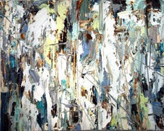 Splintered - colorful, impasto, abstract expressionist, acrylic on canvas
