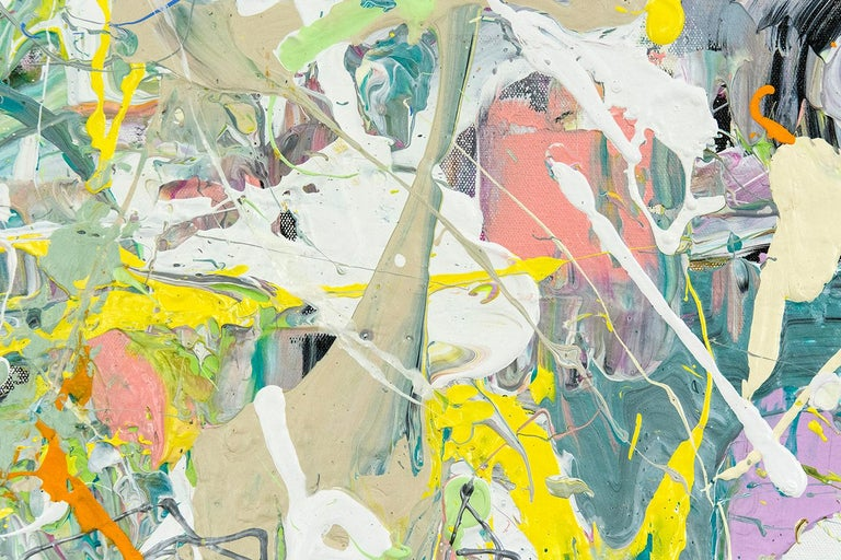 Rapid passages, drips and lines in pink, yellow, pastel green and dove gray are an extension of the artist's brush in this dynamic action painting by Adam Cohen.   New York based artist Adam Cohen creates work alive with the gestural influences of