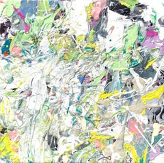White Rabbit - bright, impasto, abstract expressionist, acrylic on canvas