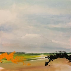 A Kentish Fieldsong - Abstract / Figurative Rural Landscape: Oil on Board
