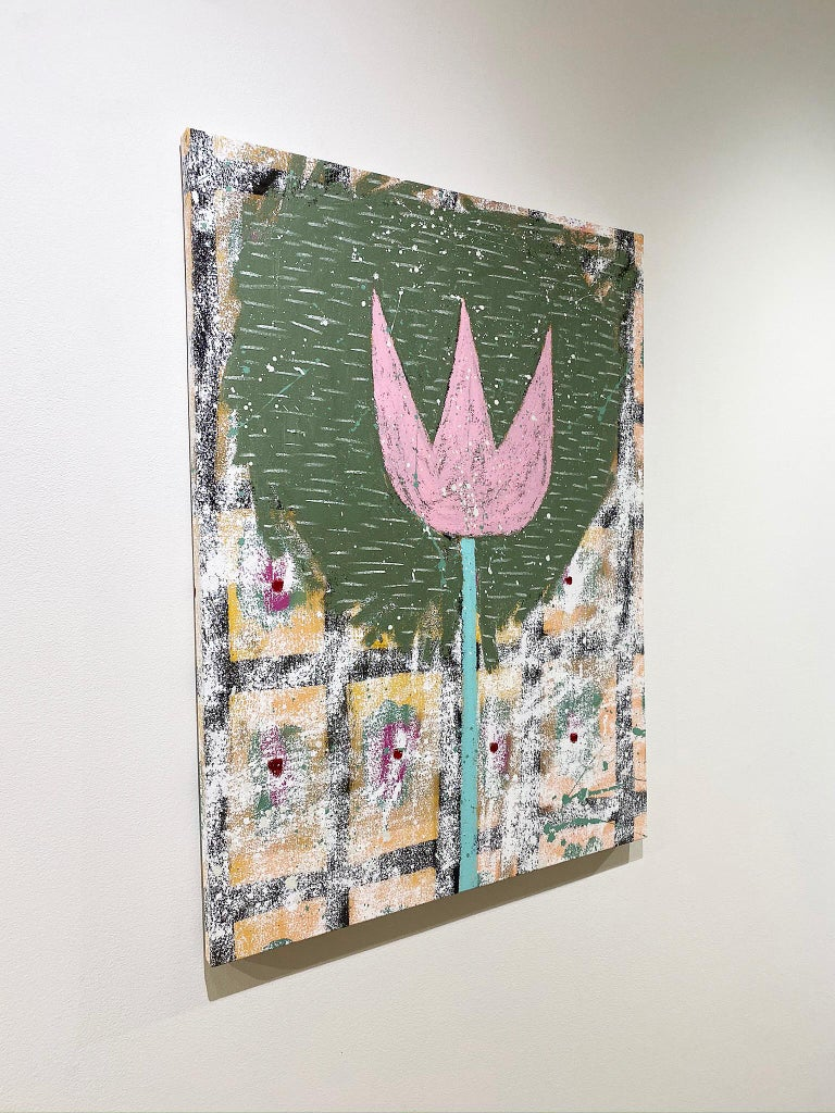 'Last Wood Tulip' by Adam Handler, 2019. Oil stick and acrylic on canvas, 32 x 24 in. This painting by contemporary artist, Adam Handler, depicts a pink tulip in his signature naive, child-like style. The tulip is contained within a green halo-like