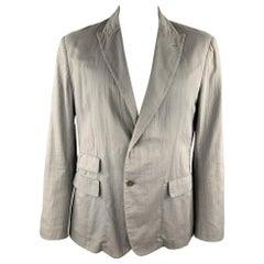 ADAM KIMMEL Size XL Grey Cotton Peak Lapel Casual Sport Coat
