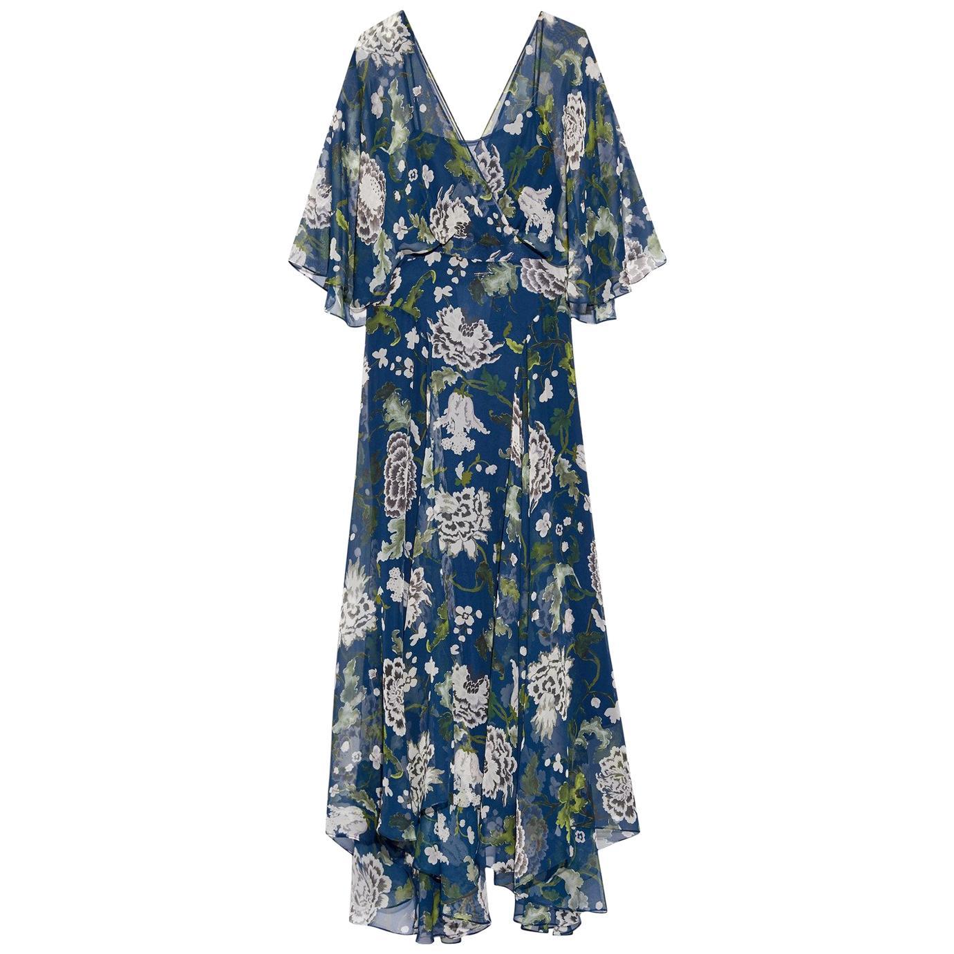 Green floral print chiffon maxi dress