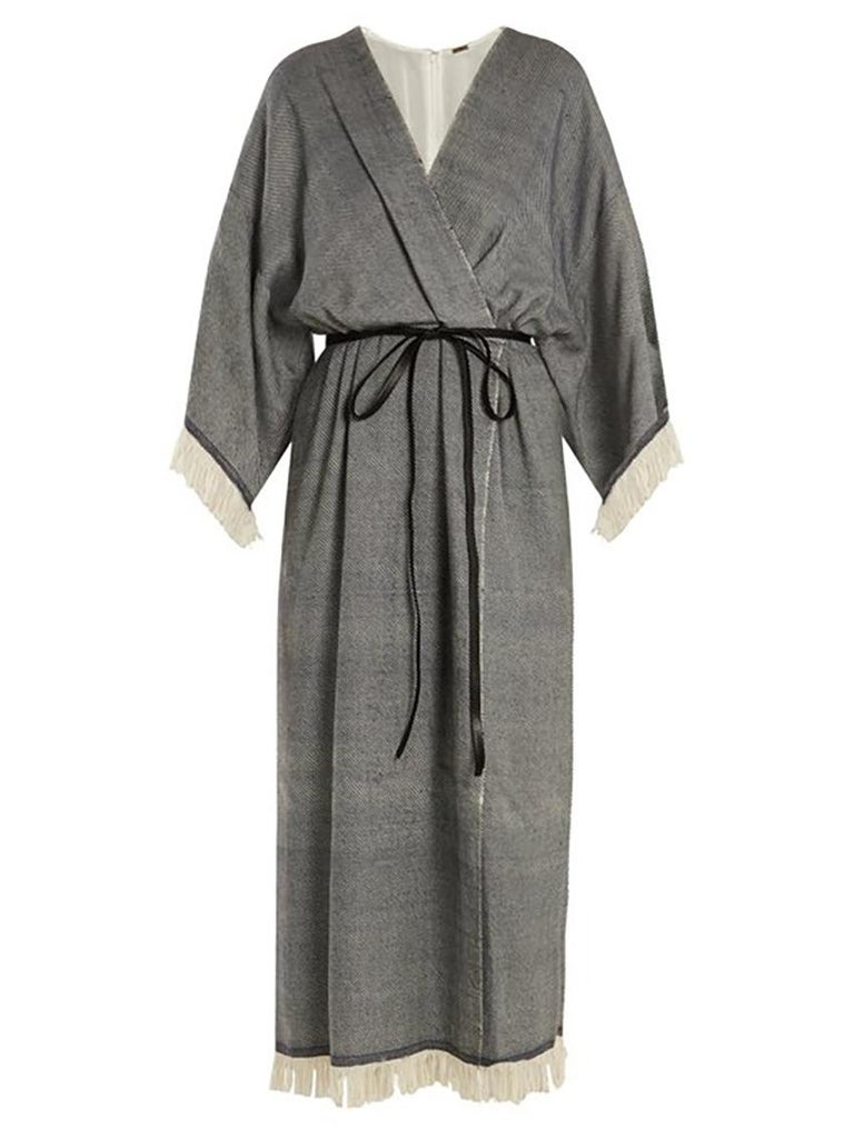 Adam Lippes Fringed Wool & Cashmere-Blend Wrap Dress Size 2