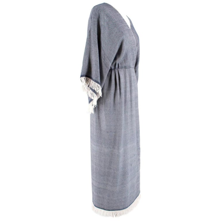 Gray Adam Lippes Fringed Wool & Cashmere-Blend Wrap Dress Size 2