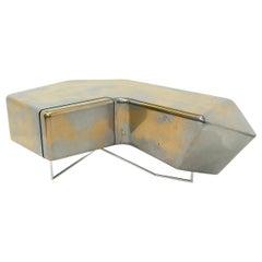 Adam Liquid Aluminium and Brass Finished Nightstand Cabinet