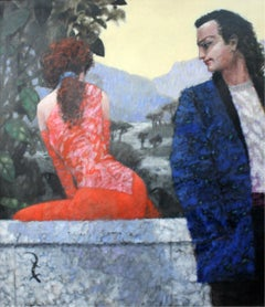 A meeting - Figurative oil painting, A couple, Landscape, Blue & red