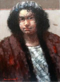 Portrait - 20 century, Figurative oil painting, Dark tones