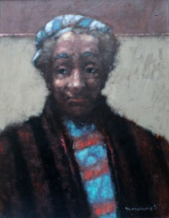 Portrait - 21 century,  Figurative oil painting, Dark tones