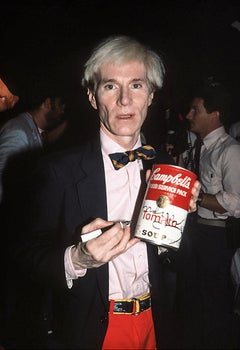 Andy Warhol Autographing Campbell's Soup Can Fine Art Print