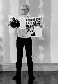 Andy Warhol Reading Newspaper Fine Art Print