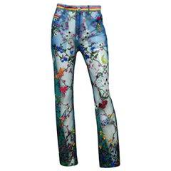 Adam Selman x Opening Ceremony Blue Sheer Mesh Embroidered Pants sz 6 rt. $695