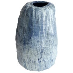 Adam Silverman, Untitled Vessel, Stoneware, Blue, White, 2016