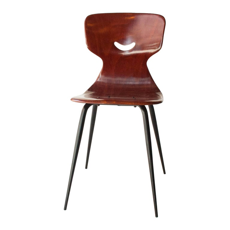 Mid-Century Modern Adam Stegner for Pagholz Flötotto Chairs Wood Iron, Germany, 1960 For Sale