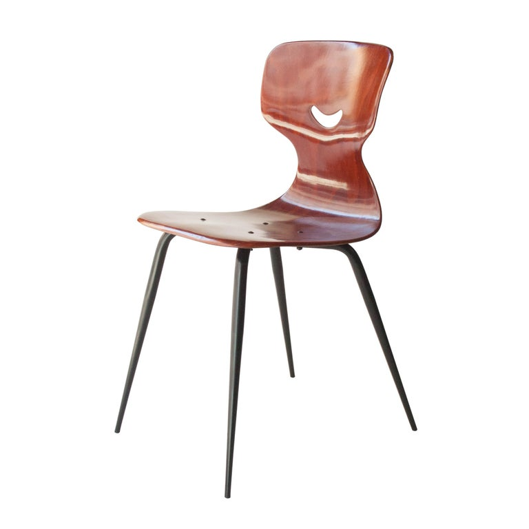 Lacquered Adam Stegner for Pagholz Flötotto Chairs Wood Iron, Germany, 1960 For Sale