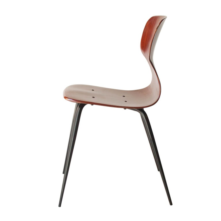 Adam Stegner for Pagholz Flötotto Chairs Wood Iron, Germany, 1960 In Good Condition For Sale In Madrid, ES