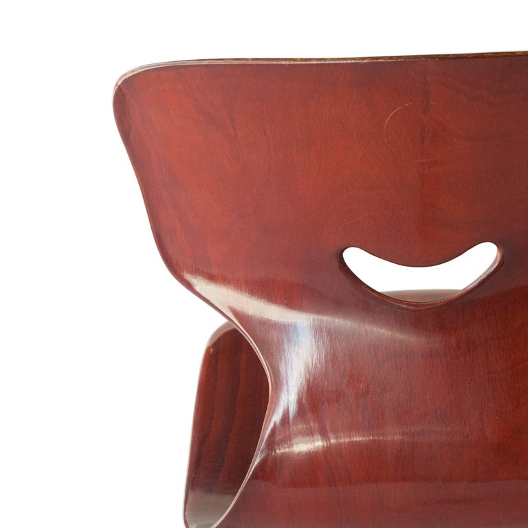 Adam Stegner for Pagholz Flötotto Chairs Wood Iron, Germany, 1960 For Sale 3