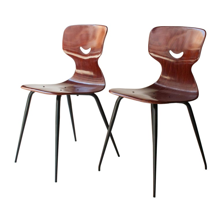 Adam Stegner for Pagholz Flötotto Chairs Wood Iron, Germany, 1960 For Sale