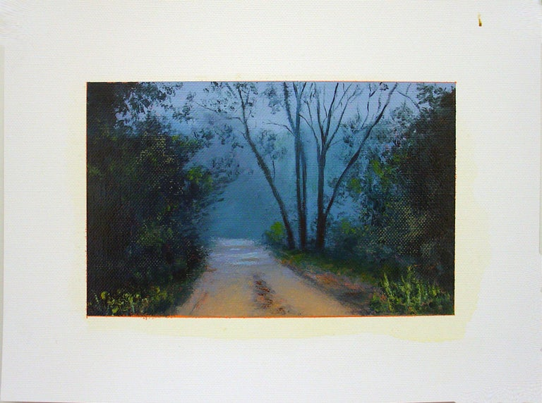 Adam Straus Landscape Painting - ROAD THROUGH WOOD WITH LIGHT FROM A CAR