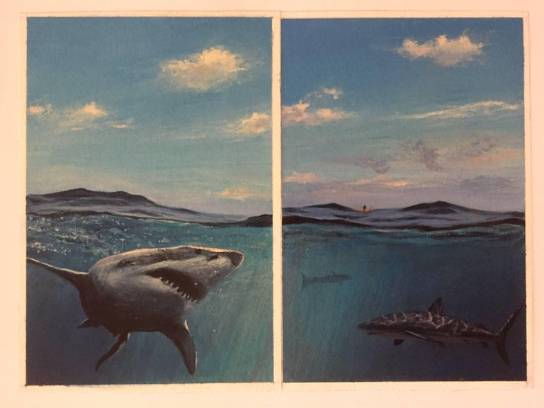 Adam Straus Animal Painting - Swimming with Sharks