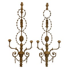 Adam Style Giltwood Candle Sconces