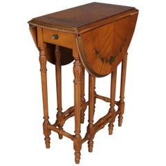 Adam Style Hand Painted Satinwood Pembroke Single Drawer End Stand, 20th Century
