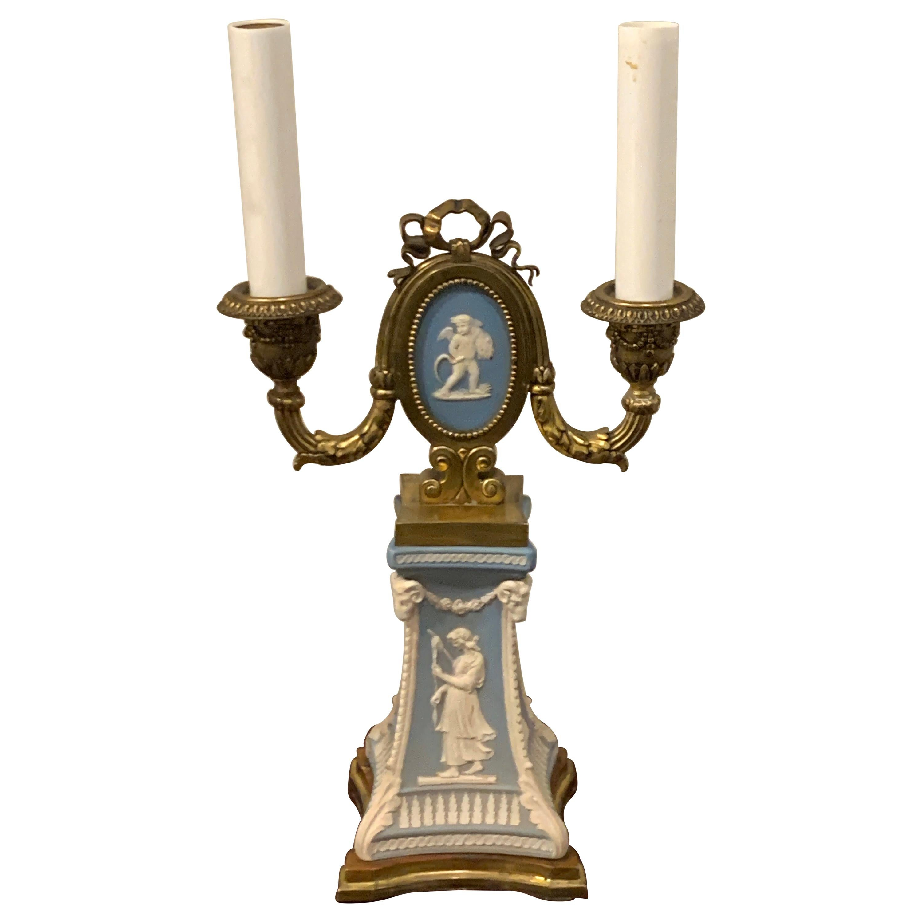 Adam Style Ormolu Mounted Wedgwood Lamp Attributed to E.F. Caldwell