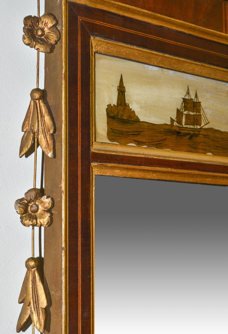 American Adam Style Reverse Painted Mirror in Giltwood For Sale