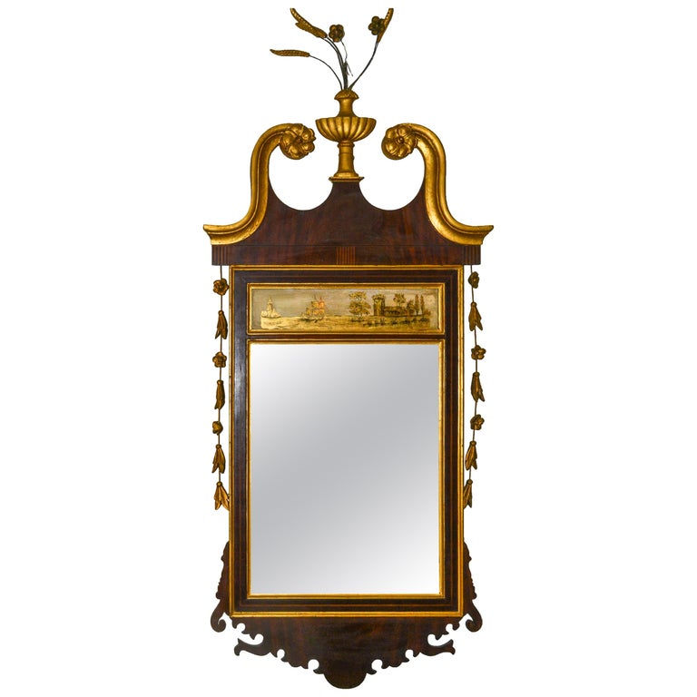Adam Style Reverse Painted Mirror in Giltwood For Sale