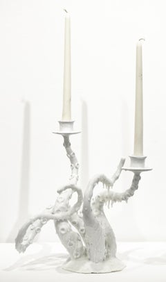 """""""Snowy White Owl Feathers and Orca Fins"""", White, Candle Holder, Tentacles"""
