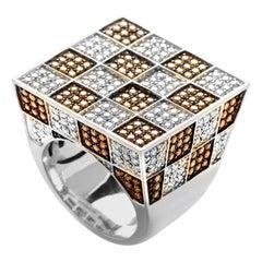 Adamas 18 Karat White Gold White and Brown Diamond Pave Checkered Ring