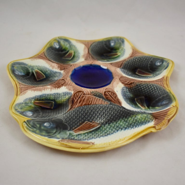 Aesthetic Movement Adams & Bromley English Majolica Fish Shaped Oyster Plate For Sale