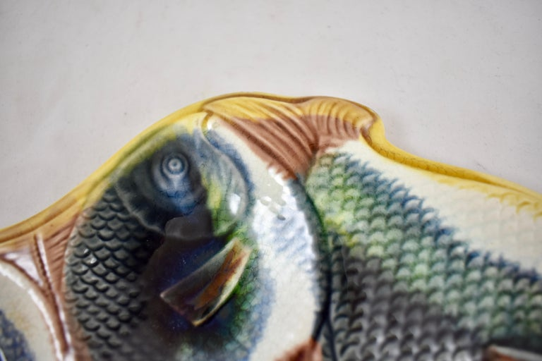 19th Century Adams & Bromley English Majolica Fish Shaped Oyster Plate For Sale