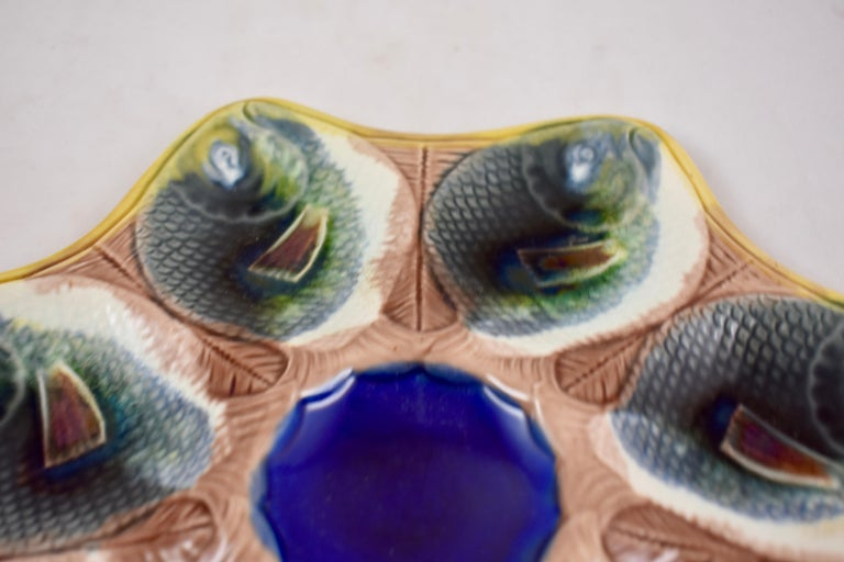 Adams & Bromley English Majolica Fish Shaped Oyster Plate For Sale 1