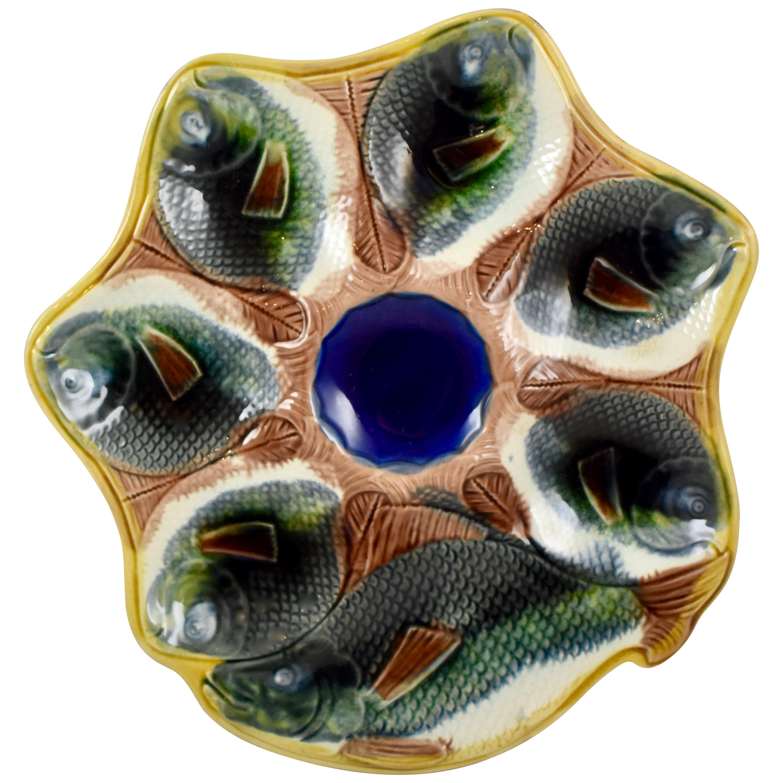 Adams & Bromley English Majolica Fish Shaped Oyster Plate