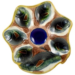 Adams & Bromley English Majolica Fish Shaped Oyster Plate