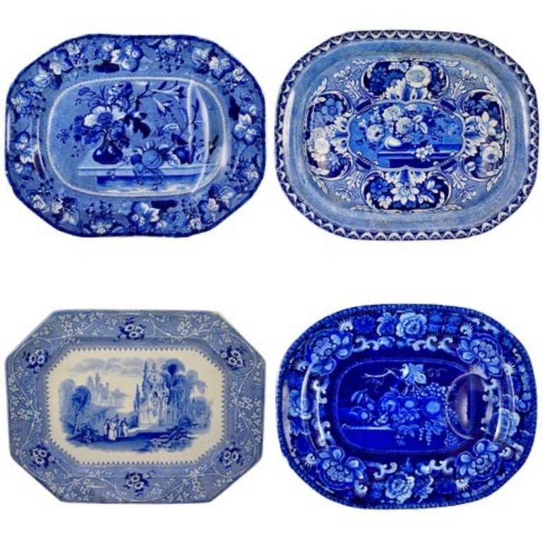 Adams & Sons Blue and White English Staffordshire Transferware Columbia Platter For Sale 6