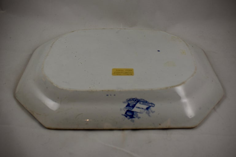 Adams & Sons Blue and White Staffordshire Transferware 'Columbia' Platter For Sale 2