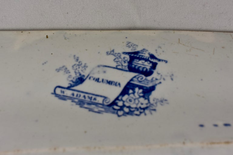 Adams & Sons Blue and White Staffordshire Transferware 'Columbia' Platter For Sale 3