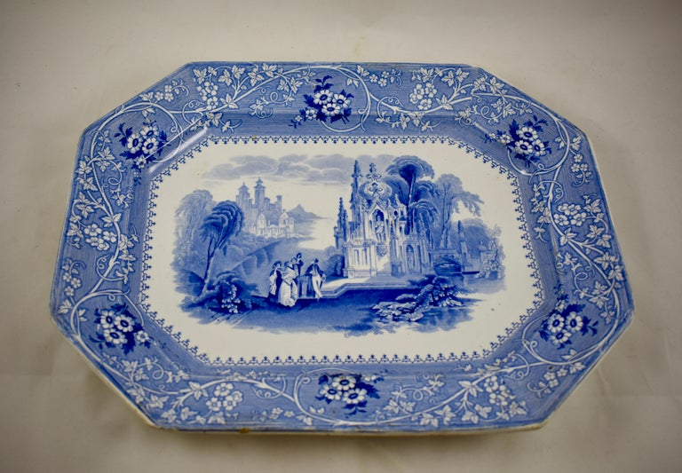 Glazed Adams & Sons Blue and White Staffordshire Transferware 'Columbia' Platter For Sale