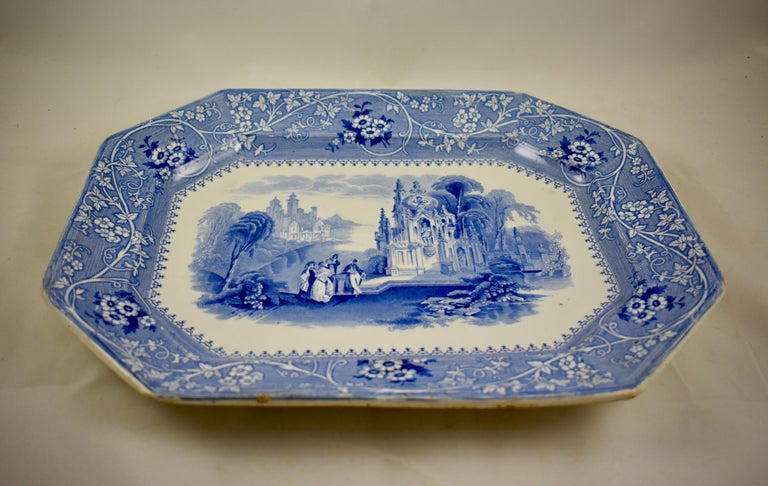Adams & Sons Blue and White Staffordshire Transferware 'Columbia' Platter In Excellent Condition For Sale In Philadelphia, PA