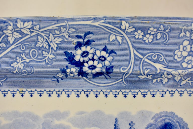 19th Century Adams & Sons Blue and White Staffordshire Transferware 'Columbia' Platter For Sale