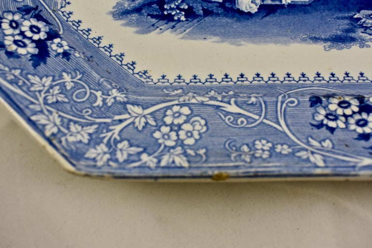 Earthenware Adams & Sons Blue and White Staffordshire Transferware 'Columbia' Platter For Sale