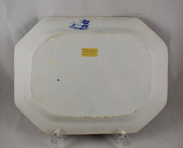 Adams & Sons Blue and White Staffordshire Transferware 'Columbia' Platter For Sale 1