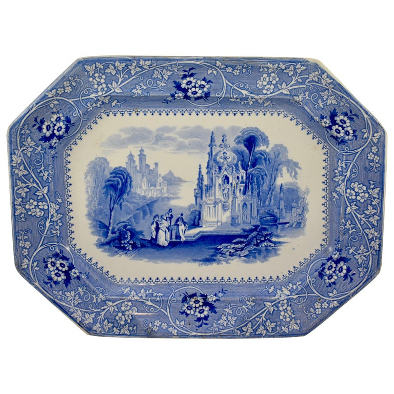 Adams & Sons Blue and White Staffordshire Transferware 'Columbia' Platter For Sale