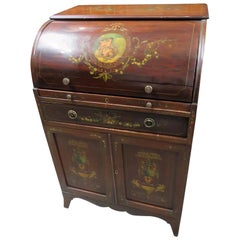 Adams Style Vernis Martin Paint Decorated Antique Cylinder Desk