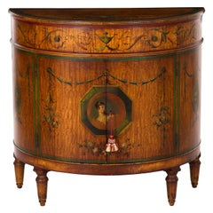 Adam's Style Finely Painted Demilune Antique Cabinet by William F. Wholey Co.