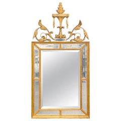 Adams Style Gilt Carved Wall Mirror with All Beveled Inserts