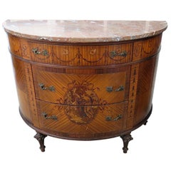 Adams Style Marble-Top Demilune