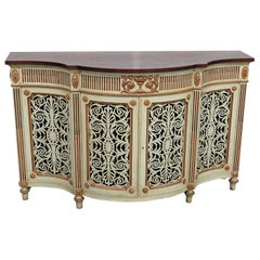 Reticulated Carved Doors Adams Style Painted and Gilded Sideboard Server Buffet